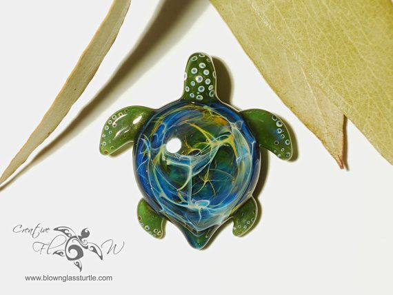 Epic earth turtle turtle pendant hand blown glass one of a epic earth turtle turtle pendant hand blown glass one of a kind jewelry made with pure silver mozeypictures Images