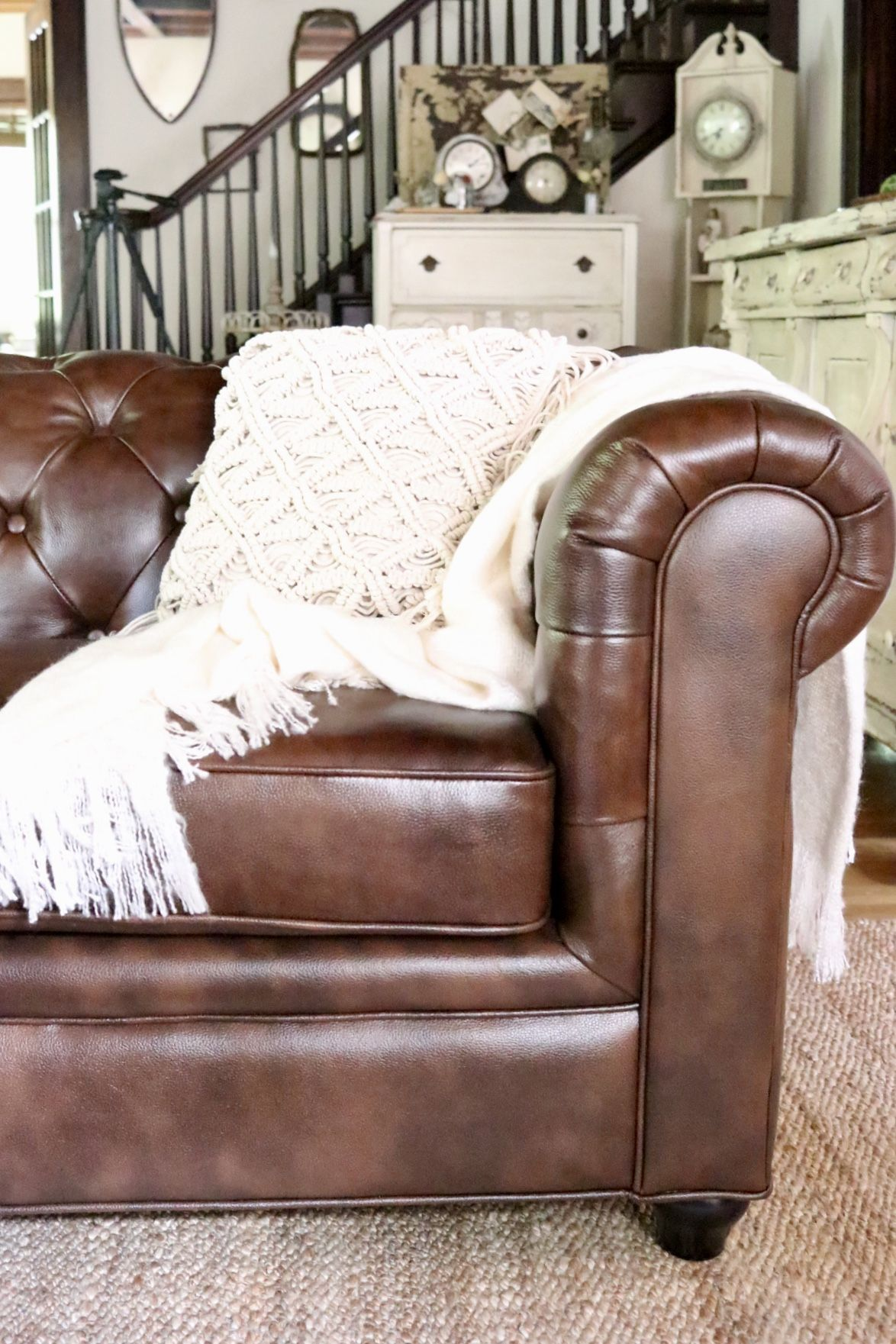 Beautiful Leather Chesterfield Sofa Macrame Boho Throw Pillow Neutral Decor