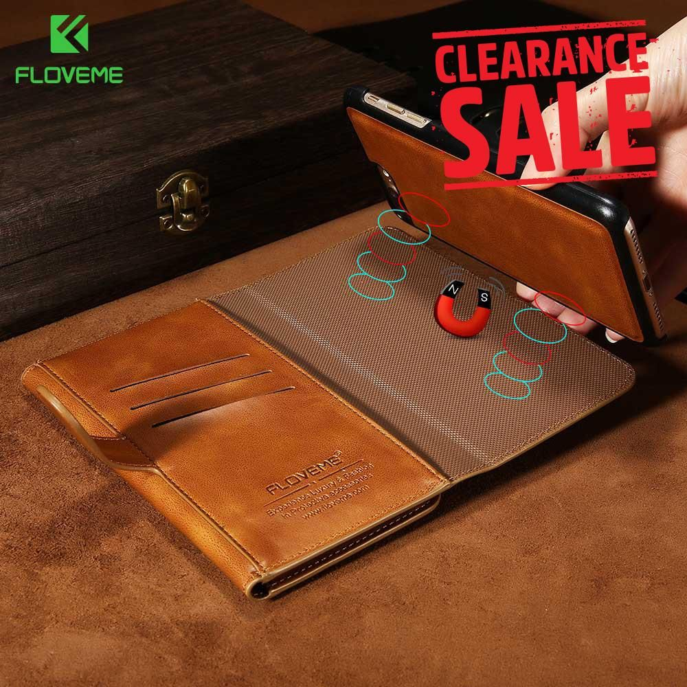 quality design 450f1 d5a09 FLOVEME Luxury Business Leather Magnetic Double Flip Wallet Case for ...