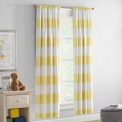 Harriet Bee Crepeau Striped Blackout Rod Pocket Single Curtain Panel Size 42 W X 63 L Color Yellow Panel Curtains Elegant Curtains Curtains