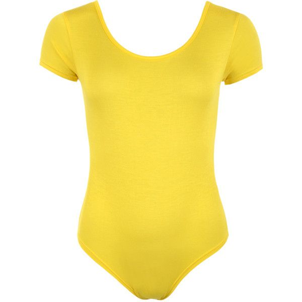 Angie Short Sleeve Bodysuit ($17) ❤ liked on Polyvore featuring intimates, shapewear and yellow
