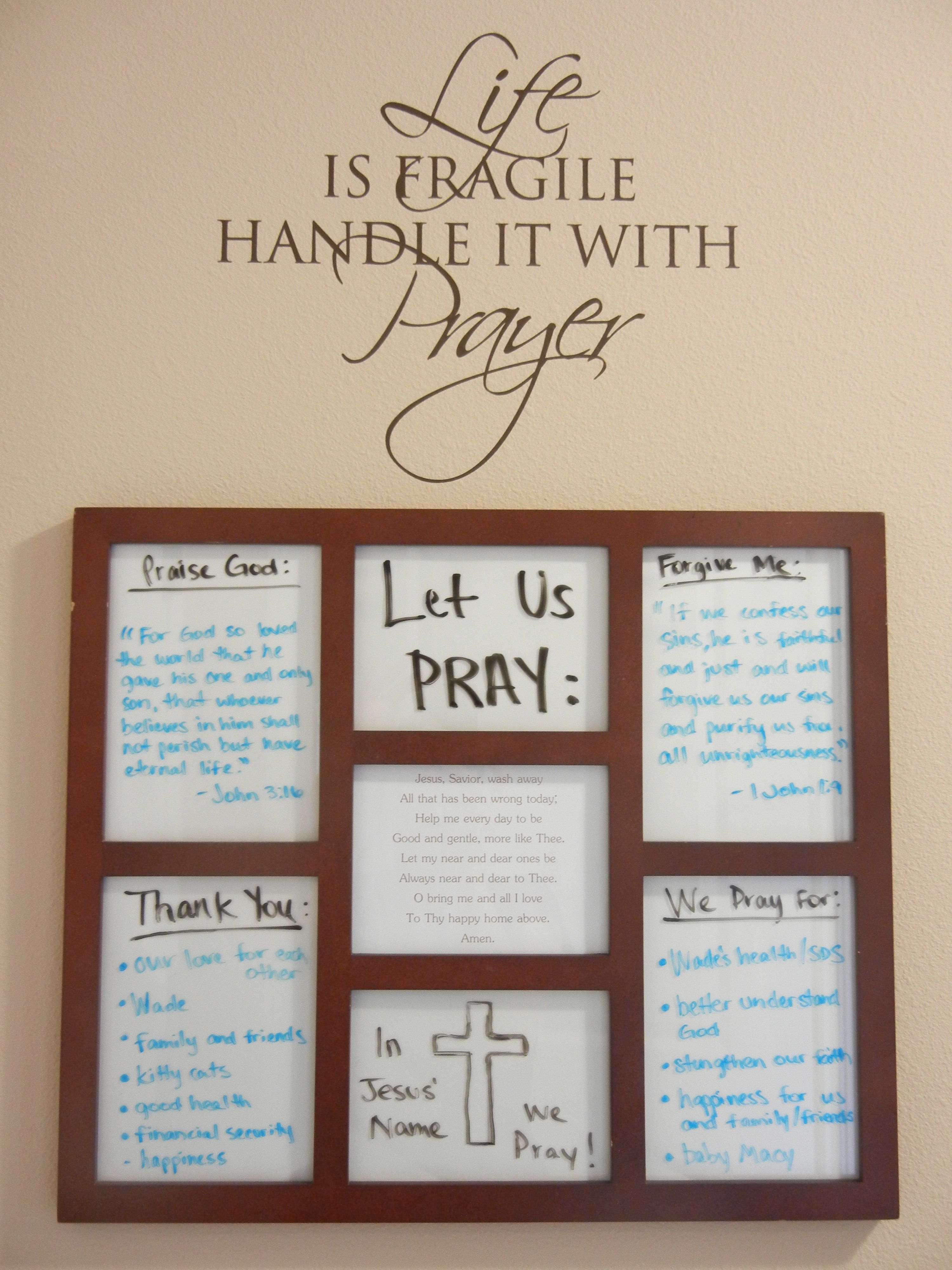 Prayer board: Wall sticker bought from an Uppercase Living party and a photo collage frame was turne