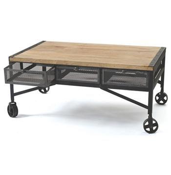 Vintage Industrial Loft Rolling Steel Wood Coffee Table