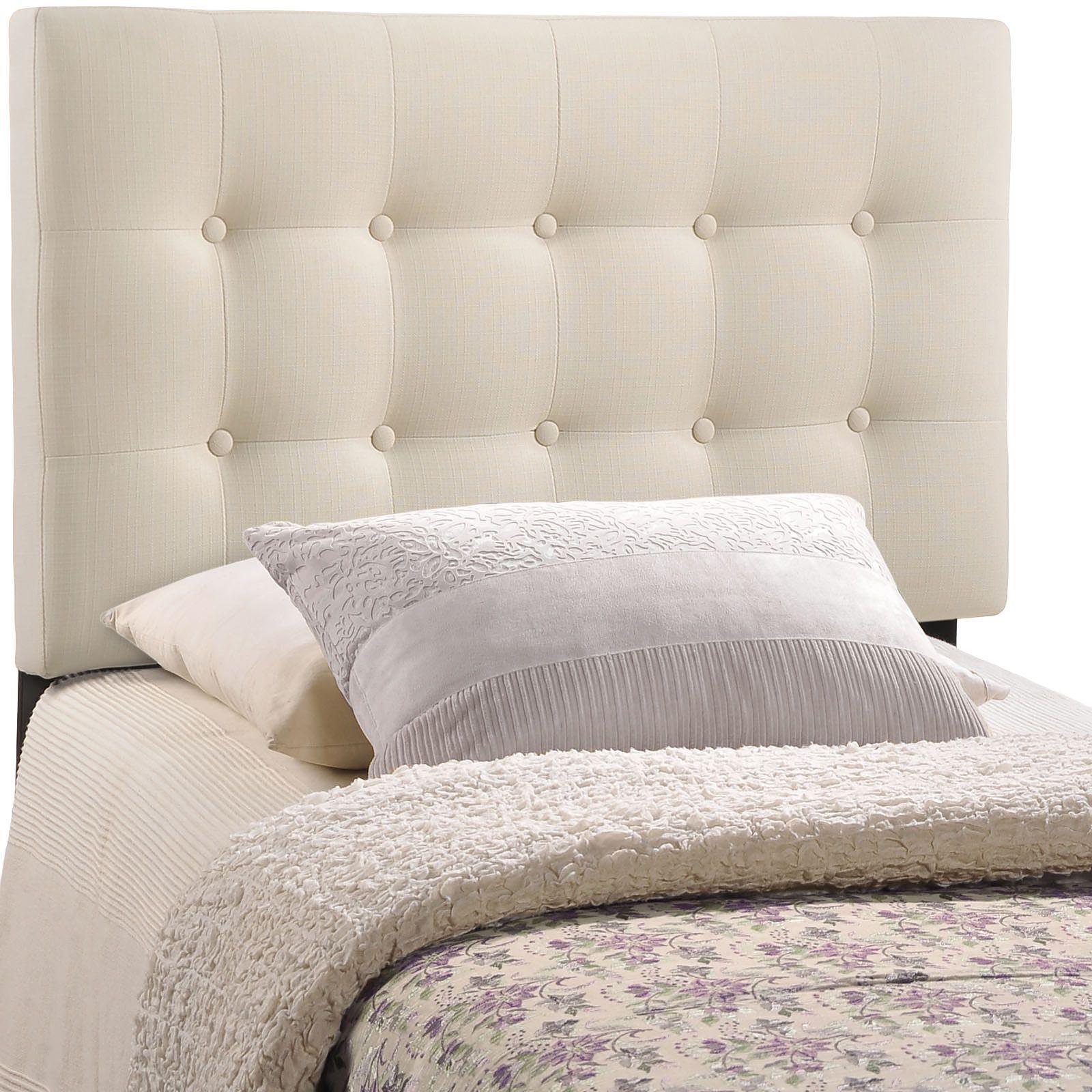 Modway Emily Grey Button-tufted Fabric Twin-size Headboard (Grey ...