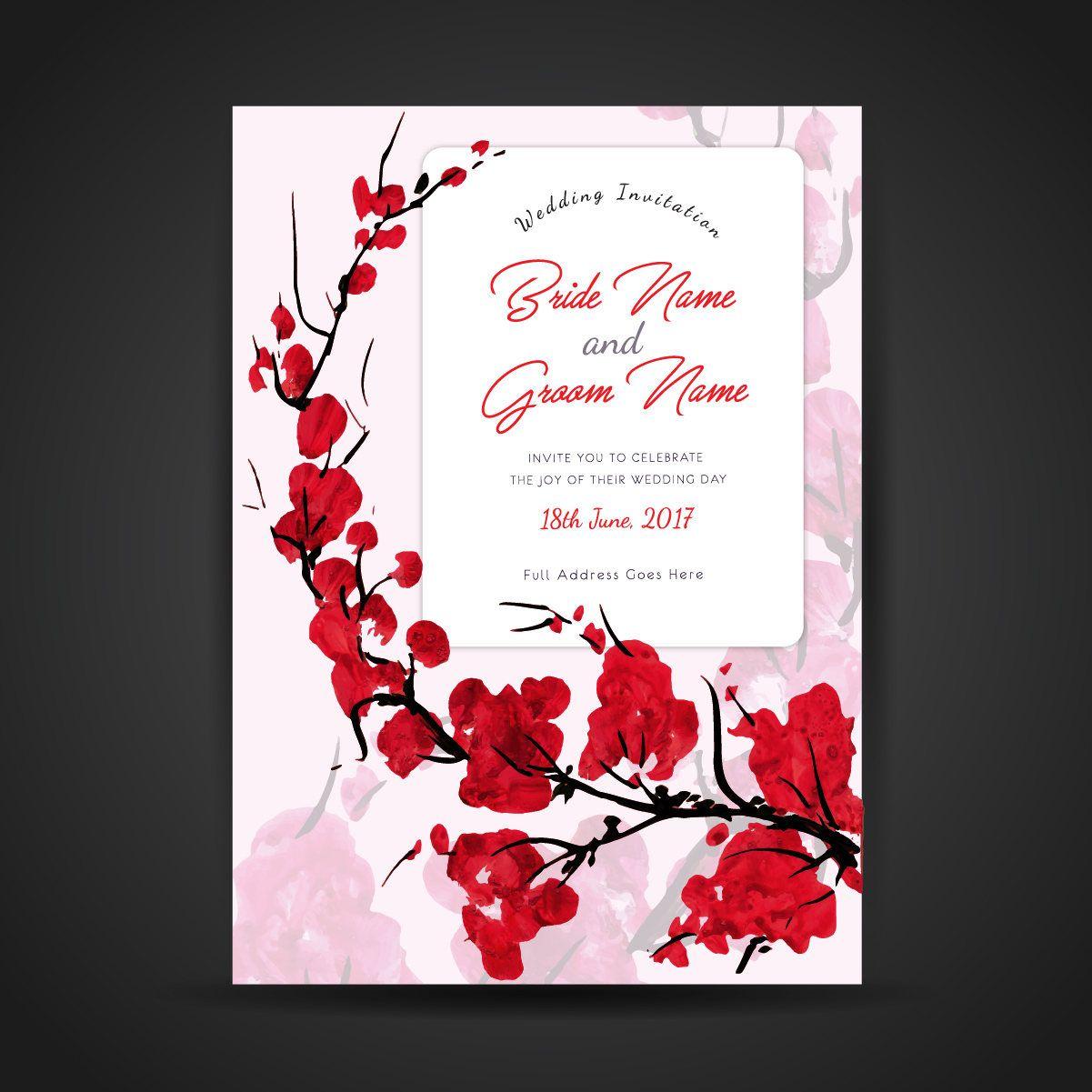 Custom Romantic Printable Wedding Invitation Colorful Watercolor ...