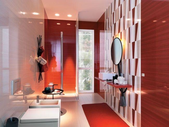 badezimmer design ideen rot weiß akzent wandfliesen runder spiegel - badezimmer design ideen