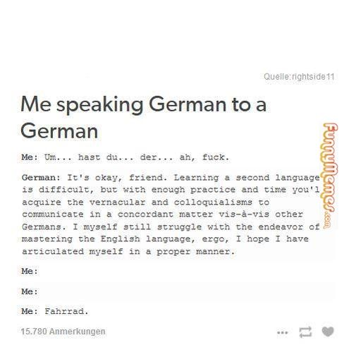 Funny memes As an anglophone learning german... Tumblr