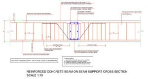 Secondary Reinforced Concrete Beam Supported On A Primary Rc Beam Cross Section Detail Top And Bottom R Reinforced Concrete Concrete Structural Engineering