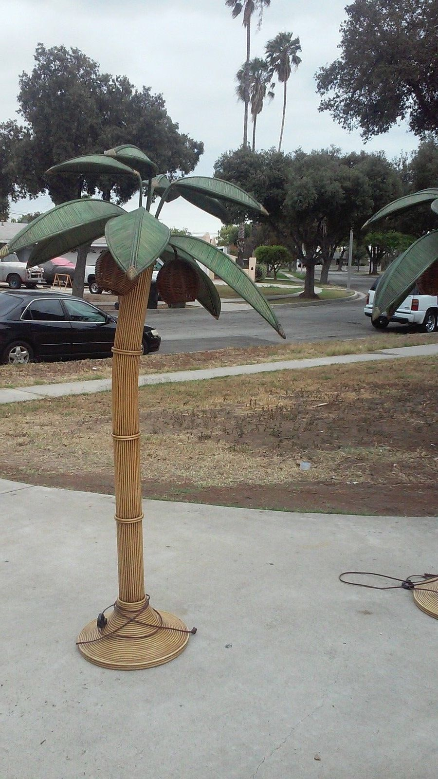 Mid Century Modern Rattan Wicker Coconut Palm Tree Floor Lamp   eBay ...