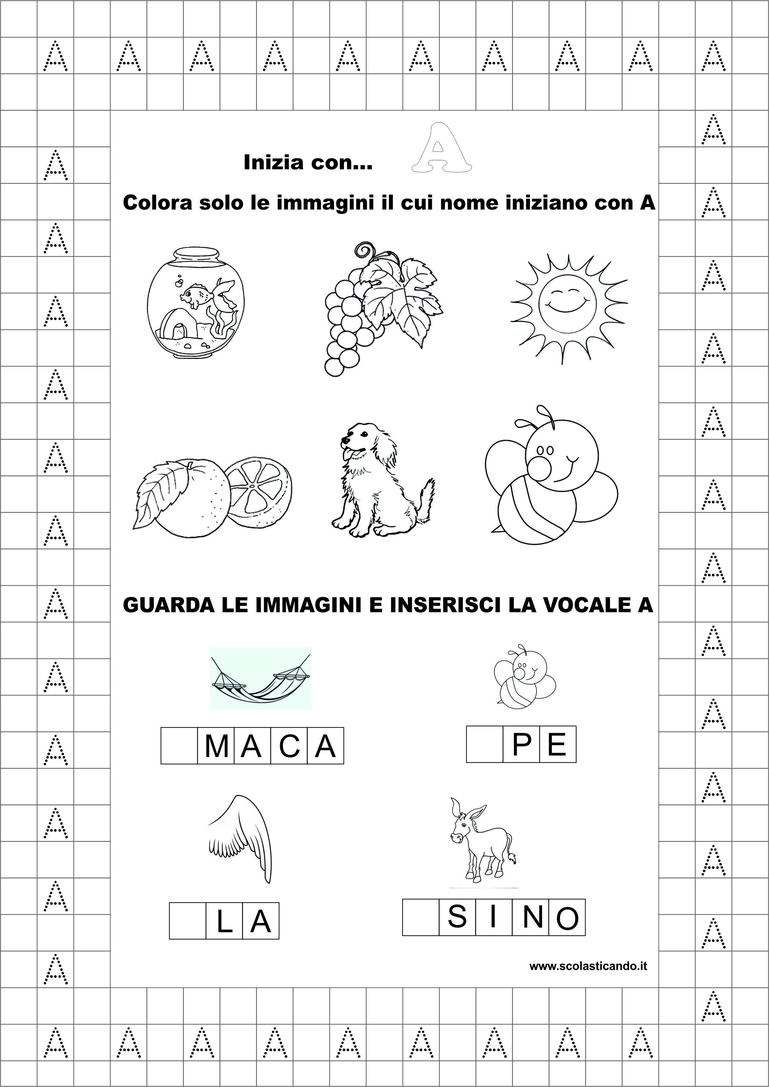 Préférence Classe prima, italiano: la vocale A, schede didattiche da  GF47