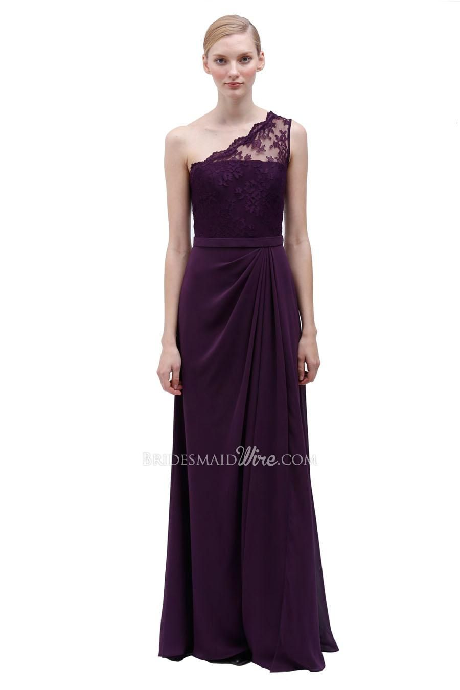 b82821c46a9ae Plum Lace Top One Shoulder Floor Length Chiffon Bridesmaid Dress at  Bridesmaidwire.com Item  19306 List Price    425.00 Our Price   177.00  Special Offer  ...