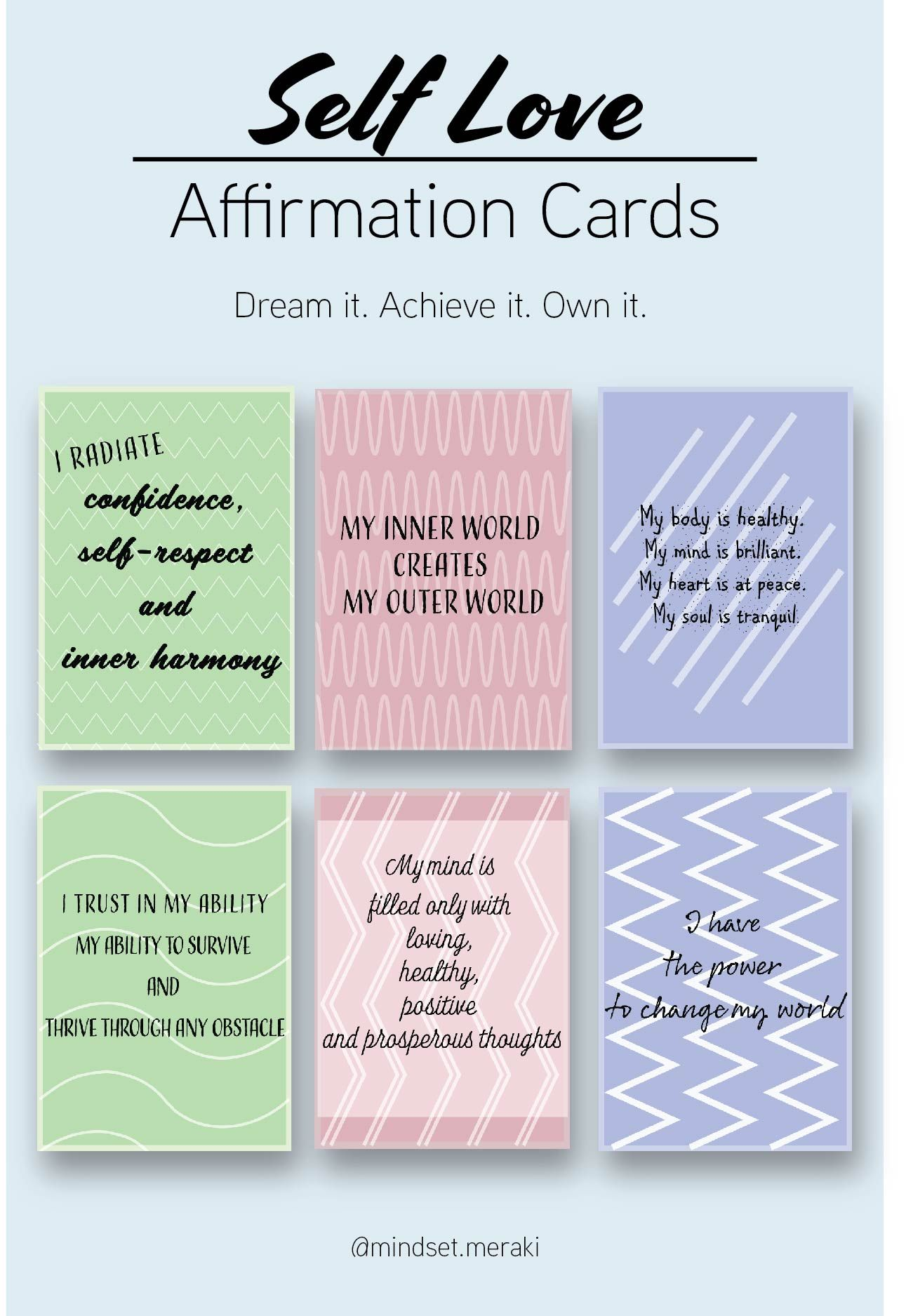 Printable Affirmation Cards For Self Love