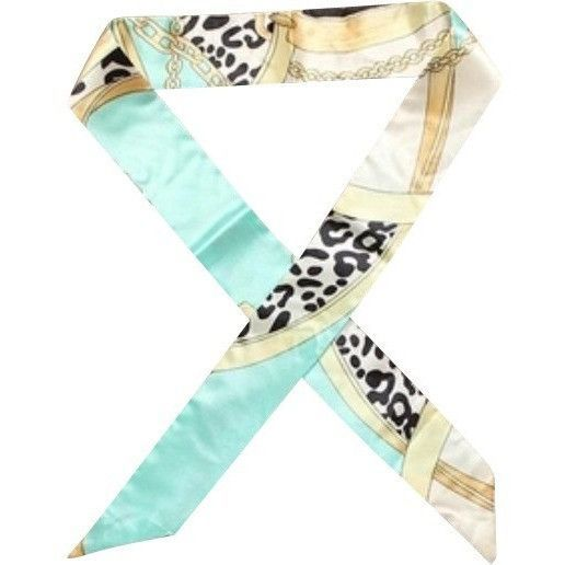 Women,Cheetah Mint Green,Twilly Handbag Handle Silk Scarf Bracelet