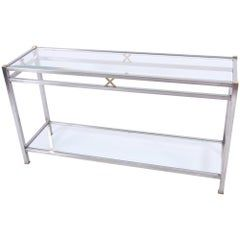 Photo of Pair of Chrome and Brass Plated Steel Console Tables with Clear Glass Tops