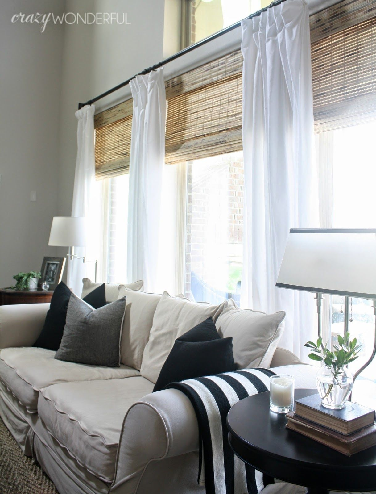 3 window bedroom  crazy wonderful new couch pillows  window treatments  pinterest