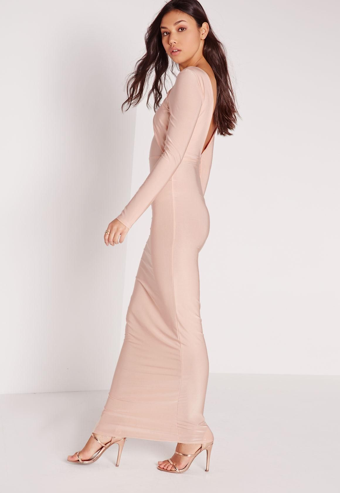 Missguided - Slinky Long Sleeve Low Back Maxi Dress Champagne   prom ...