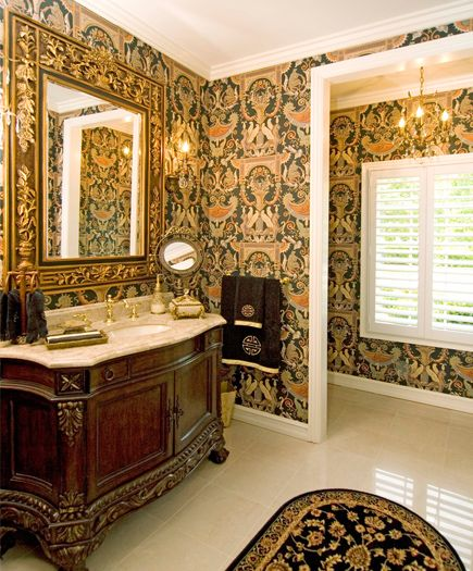 dramatic neo classical wallpaper from schumacher co combined with ornate furniture vanity. Black Bedroom Furniture Sets. Home Design Ideas
