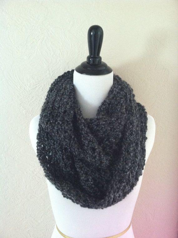Gray crochet scarf