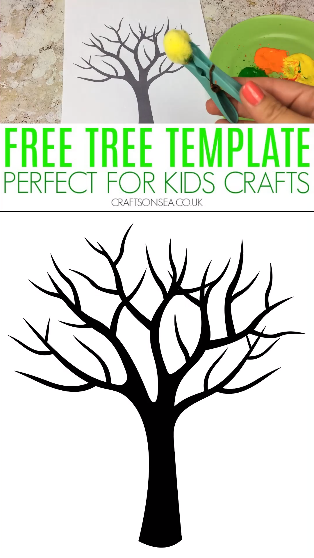 Free tree template perfect for kids arts and crafts! See our ideas for autumn tree crafts, winter tree crafts, spring tree crafts and nature tree crafts all using our template #kidscrafts #kidsactivities #preschool #kidsart