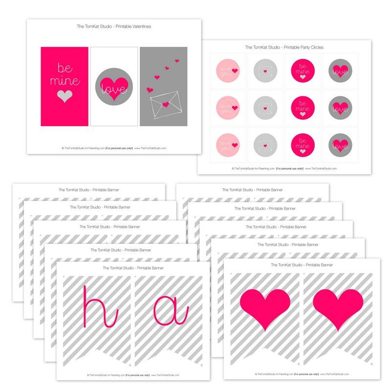 Free Printable Pink + Gray Valentine's Day Set | Designed by The TomKat Studio