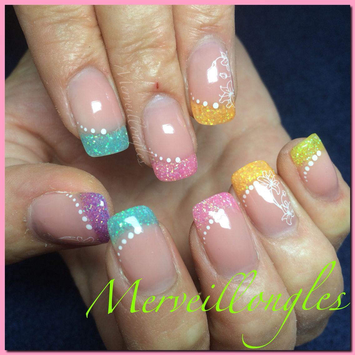 Gel uv ongles en gel multicolore d co paillettes et stamping merveillongles pinterest gel - Deco ongle paillette ...