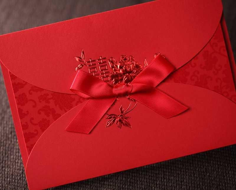 Asian Theme Red Double Happiness Bow Ribbon Wedding Invitation – Asian Invitation Cards