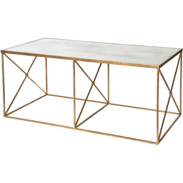 furano hollywood regency gold antique mirror coffee table (13715