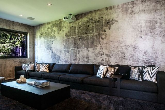 Wanddesign Ideen Wohnzimmer Trends Beton Raue Optik Weltkarte