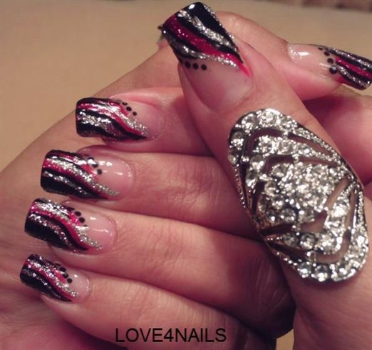 RED BLACK & SILVER STRIPES by LOVE4NAILS - Nail Art ...