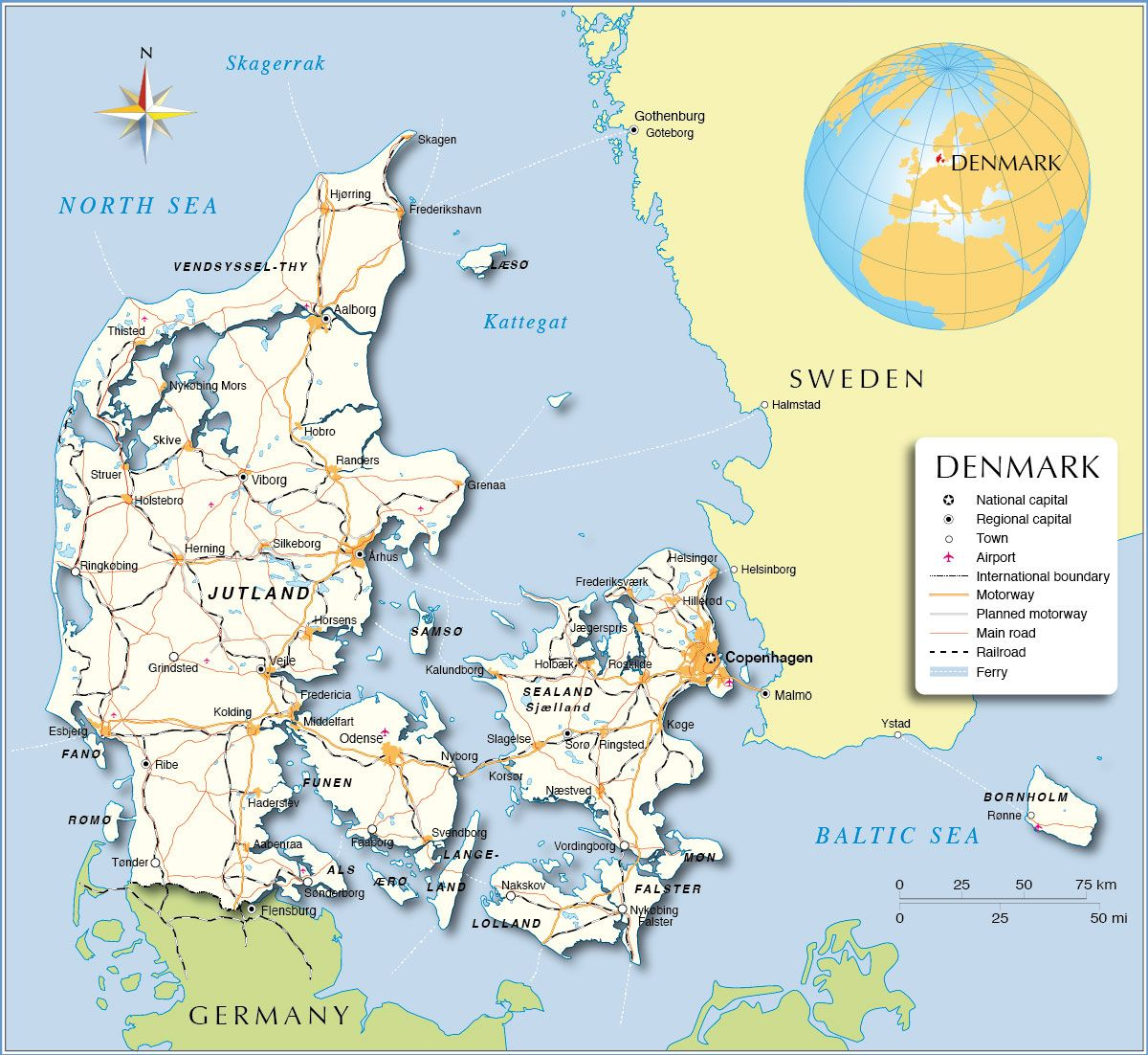 Political Map of Denmark Mapy Pinterest