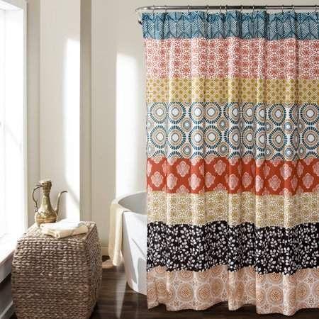 Lush Decor Bohemian Stripe Shower Curtain TurquoiseOrange  Future Home