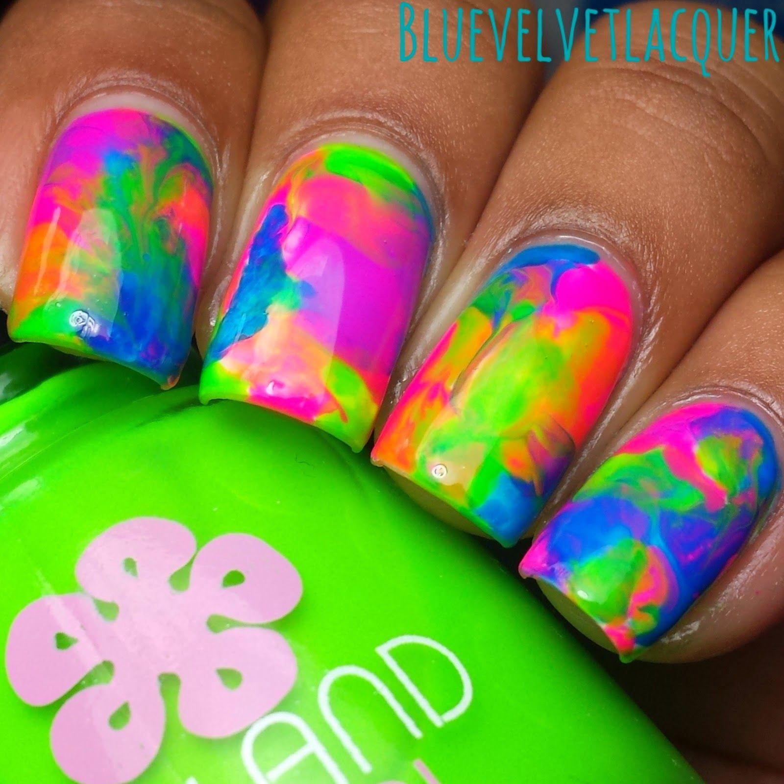 Blue Velvet Lacquer Twinsie Tuesday Summer Lovin Neon Dry Marble Nail Art Plus Tutorial Neon Nail Art Neon Toe Nails Vibrant Nails