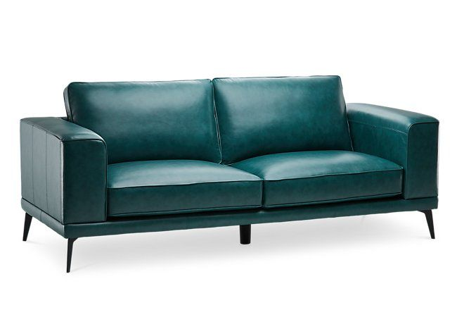 Naples Turquoise Leather Sofa With Black Legs Living Room