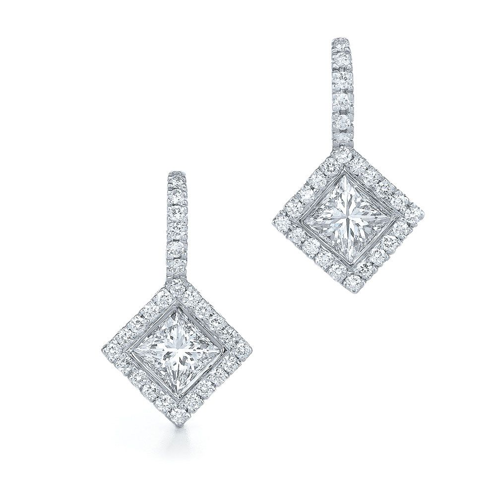 Princess Cut Diamond Earrings Silhouette Drop