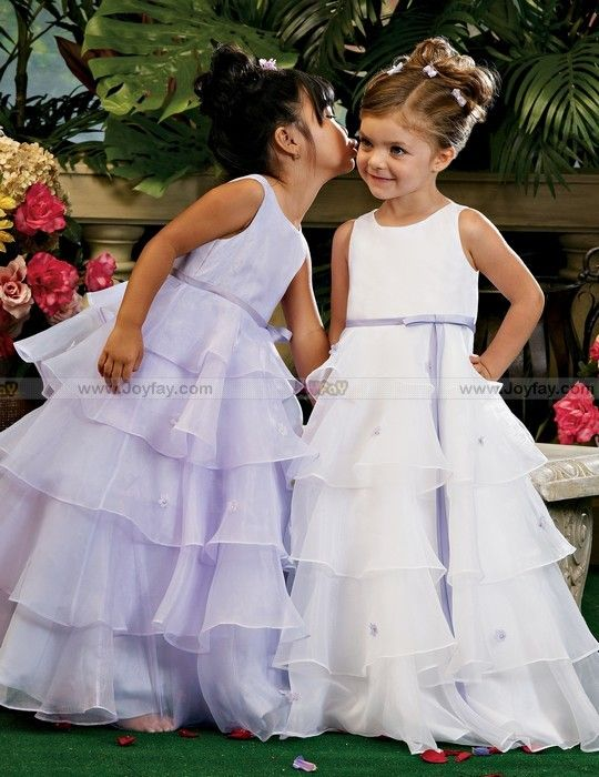 Ruffle Flower Girl Dresses In White And Lavender Purple Wedding