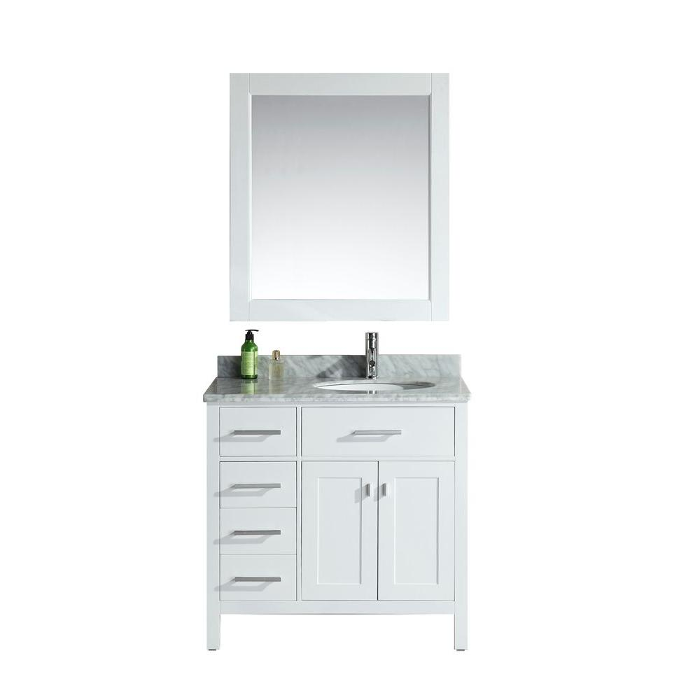 Design Element London 36 In W X 22 In D Single Vanity In White With Marble Vanity Top And Mirror In Carrara White Dec076d W L Single Sink Bathroom Vanity Marble Vanity Tops Single