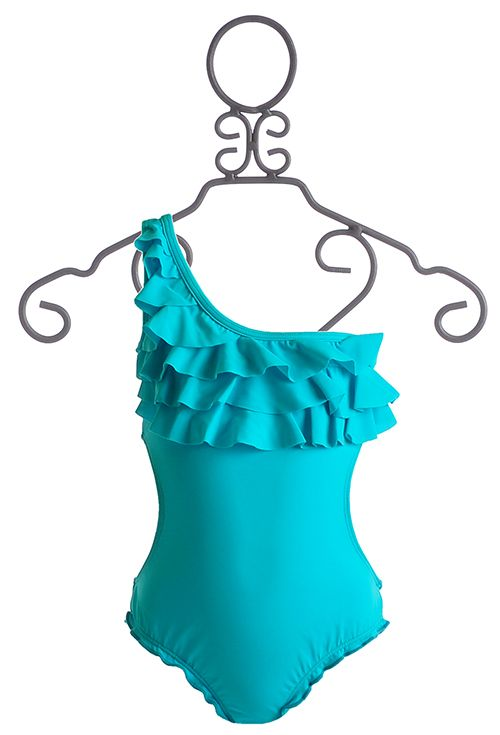Pre Teens Swim Suit Bottom On Only Pictures: To The 9's Ruffled Tween Swimsuit In Turquoise $54.00