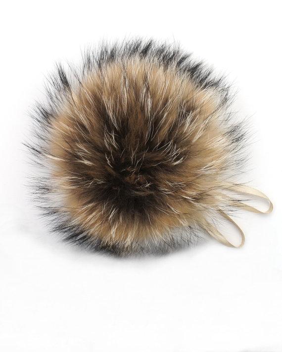 3d22c76a9af6a Real Fur Pom Pom Hat Raccoon Pompom Fox Fur Pompom Large Pom Poms ...