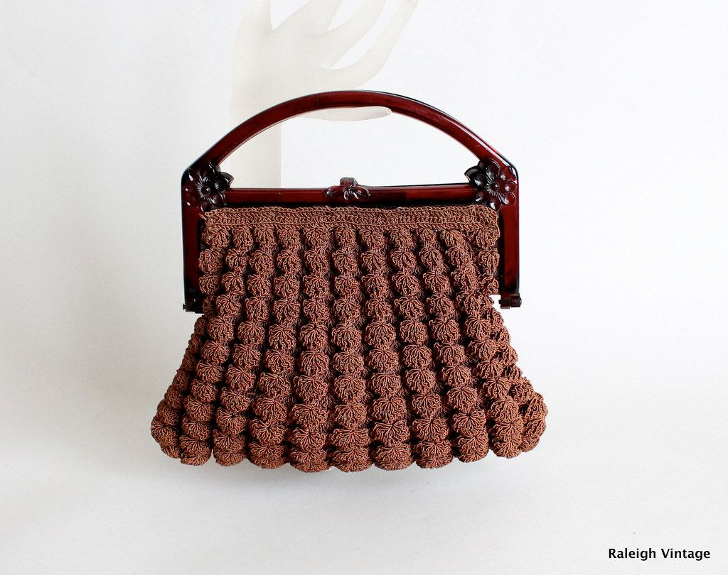 Vintage 1930s purse 30s brown crochet knit bag knitted bags vintage 1930s purse 30s brown crochet knit bag bankloansurffo Gallery