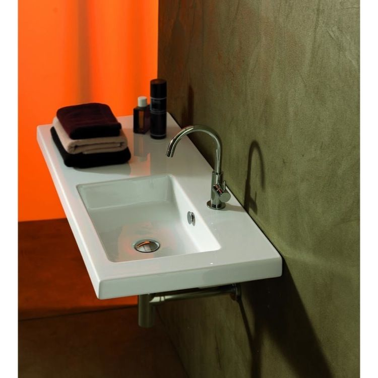 Rectangular White Ceramic Wall Mounted Or Drop In Sink Wall
