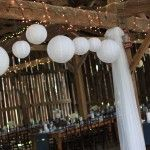 We loved how this bride decorated the inside of the barn at her rustic chic farm wedding!