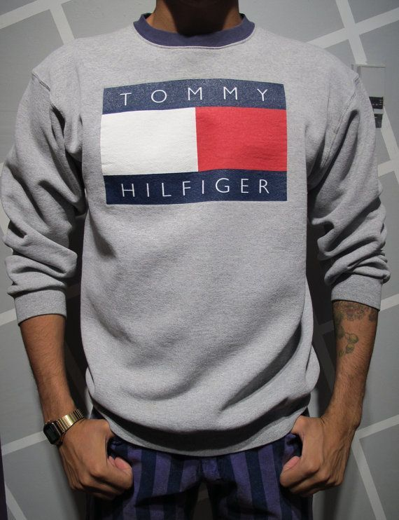 vintage 90s tommy hilfiger crewneck sweatshirt size xl in. Black Bedroom Furniture Sets. Home Design Ideas
