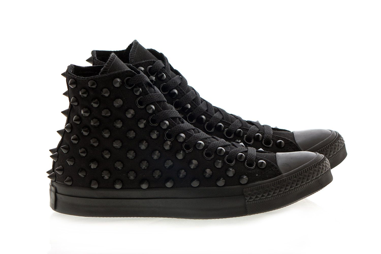Black cone-studded all black Converse