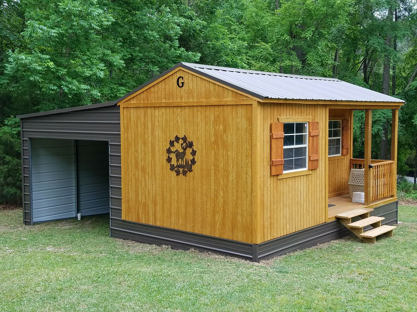 Customers Finished Out 12x16 Corner Porch Cabin Shed To Tiny House Portable Buildings Portable Cabins