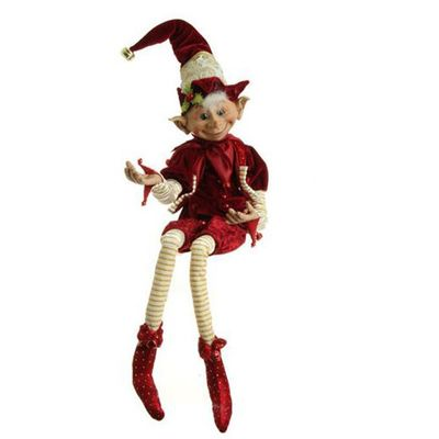RAZ Posable Elf Christmas Made of Polyester Dark Red/Burgundy ...