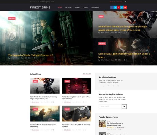 finest game website template | Gamers | Pinterest | Template ...