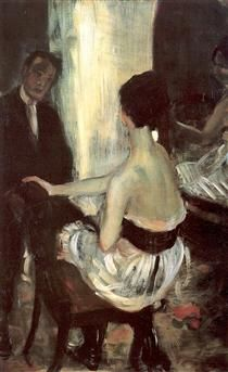 Seated Actress with Mirror - William James Glackens