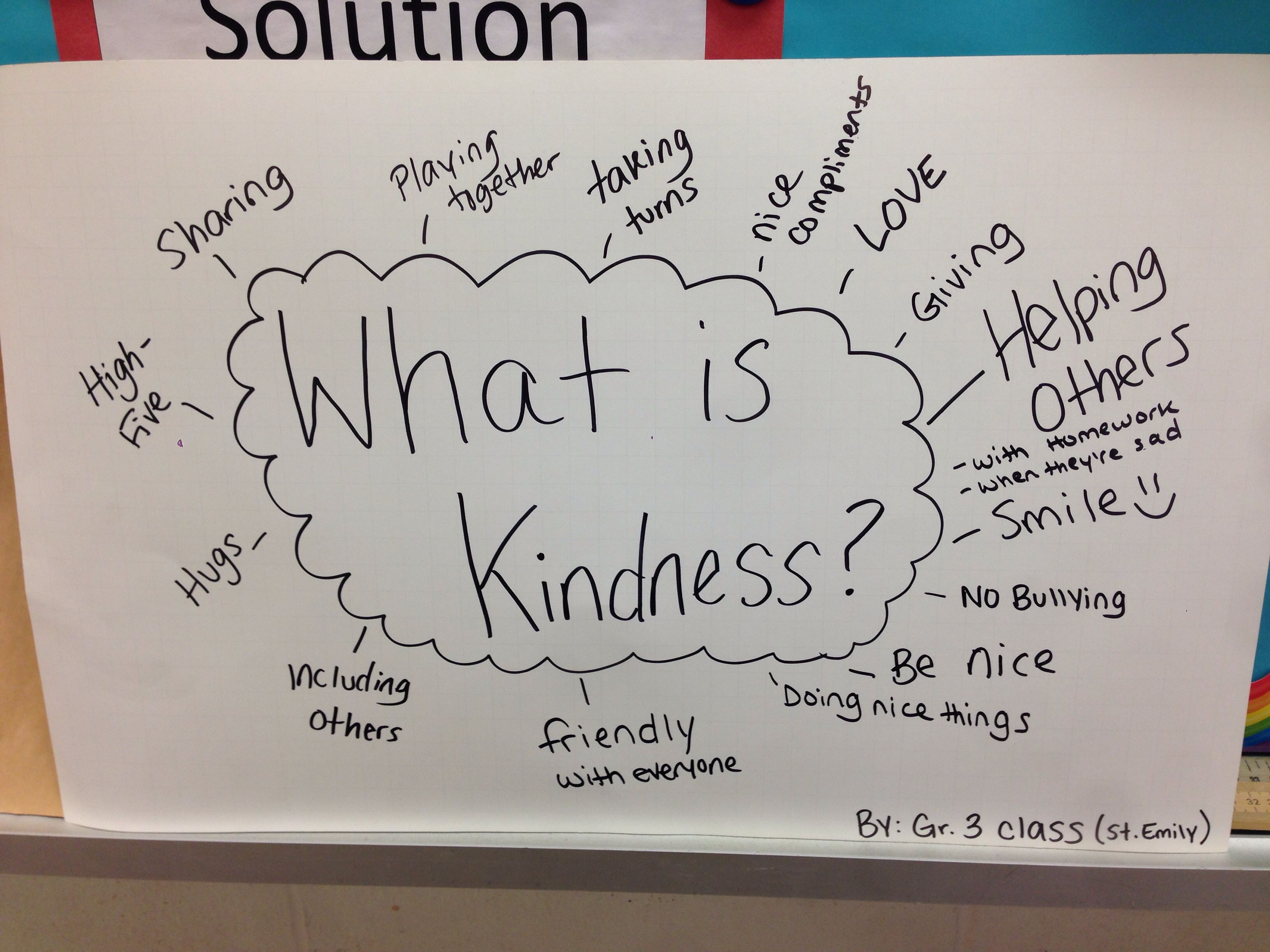 Brainstorming Kindness With Children In Grade 3