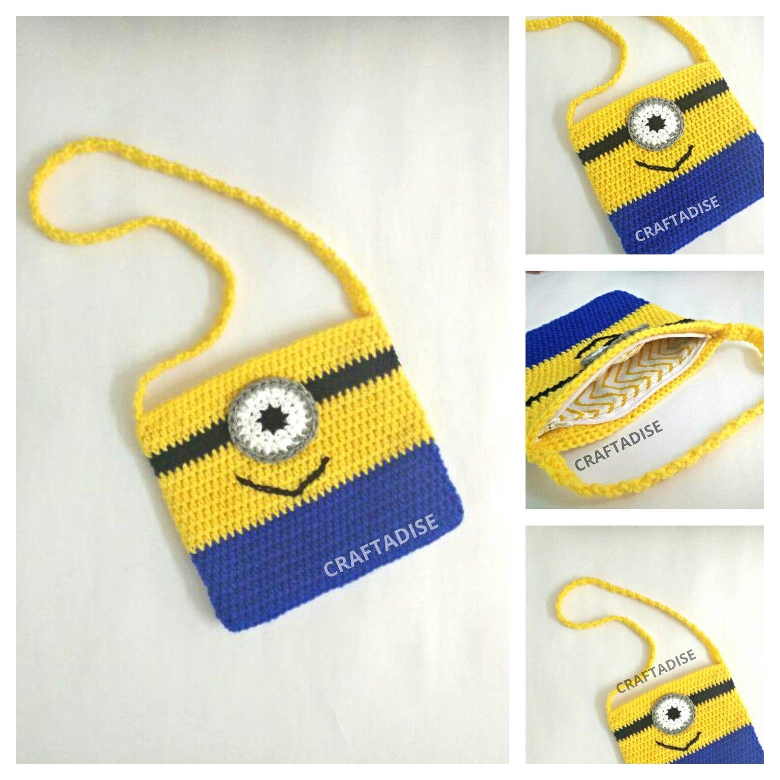 Crochet Mini Minion Sling Bag - Free pattern, free crochet pattern ...