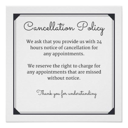 Cancellation Policy Poster - hair salon gifts customize - cancellation policy template